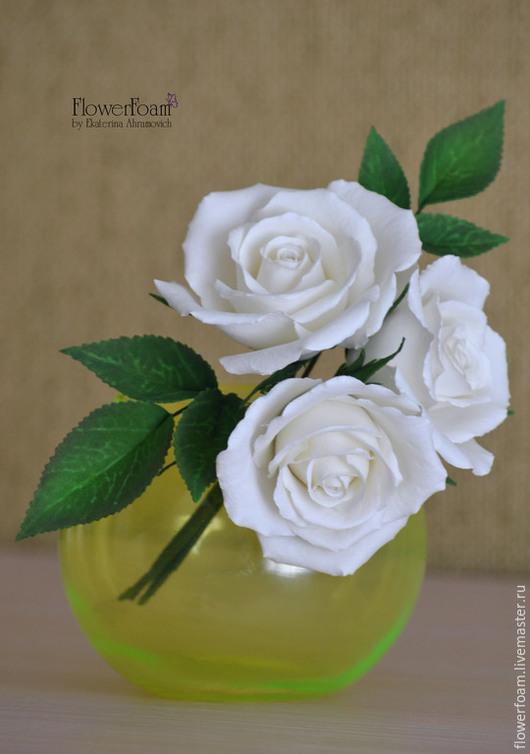 Цветы ручной работы. Ярмарка Мастеров - ручная работа. Купить Белые розы из ревелюра/фоамирана. Интерьерные цветы. Букеты.. Handmade. Белый
