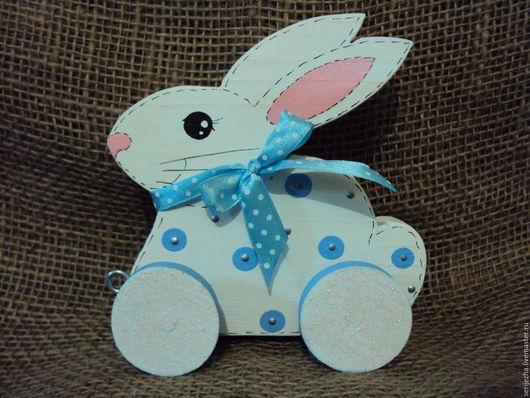 Заяц(Кролик)(Б) большой-каталка, деревянная игрушка ручной работы, декорированный