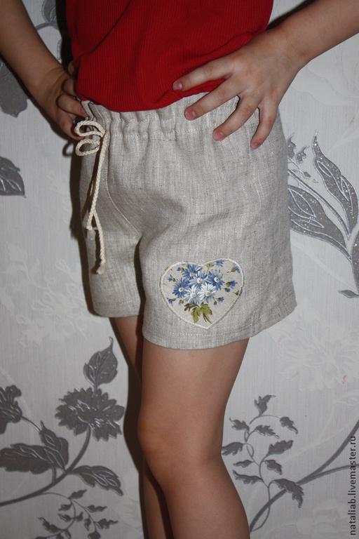 Одежда для девочек, ручной работы. Ярмарка Мастеров - ручная работа. Купить Детские льняные шортики. Handmade. Шортики, детские шорты