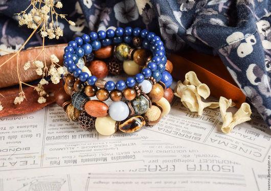 """Браслеты ручной работы. Ярмарка Мастеров - ручная работа. Купить Комплект браслетов """"Индиго"""". Handmade. Синий, браслет и серьги"""
