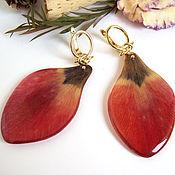 Украшения handmade. Livemaster - original item Earrings with Real Red Tulip Petals Korean Accessories. Handmade.