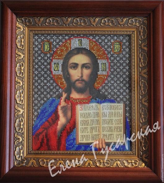 Иконы ручной работы. Ярмарка Мастеров - ручная работа. Купить Икона Христос Спаситель. Handmade. Икона вышитая бисером