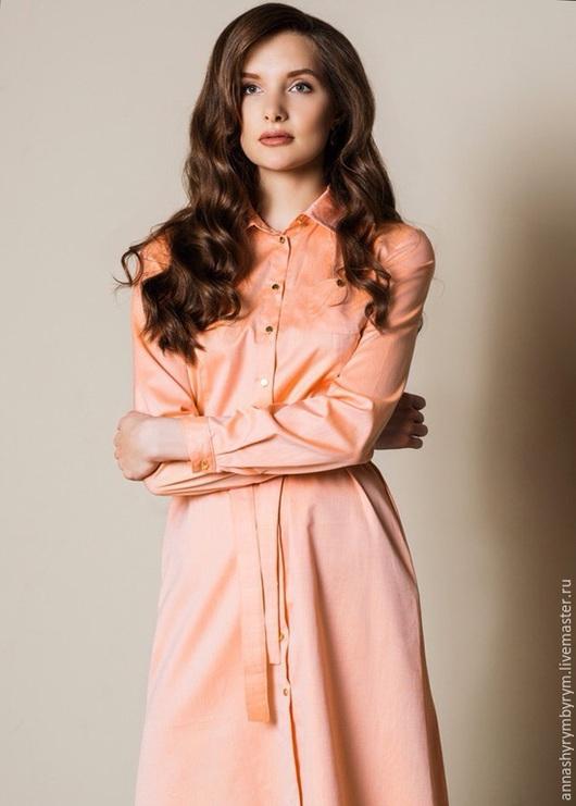Платья ручной работы. Ярмарка Мастеров - ручная работа. Купить Платье-рубашка персиковое. Handmade. Бежевый, оранжевый, платье, золотой