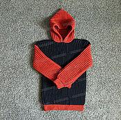 Одежда ручной работы. Ярмарка Мастеров - ручная работа Свитер черно-оранжевый из акрила. Handmade.