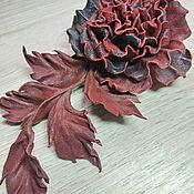 Украшения handmade. Livemaster - original item Rose leather flower - Dorothy brooch. Handmade.