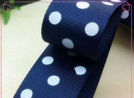 Шитье ручной работы. Ярмарка Мастеров - ручная работа. Купить Лента репсовая, синяя в горошек, 25 мм. Handmade.