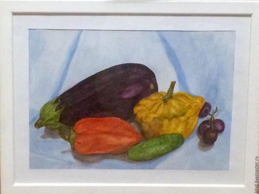 """Натюрморт ручной работы. Ярмарка Мастеров - ручная работа. Купить Акварель. Натюрморт """"Овощи"""". Handmade. Голубой, овощи, баклажан, патиссон"""