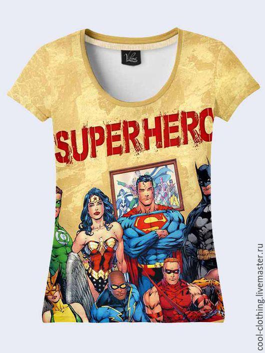"""Футболки, майки ручной работы. Ярмарка Мастеров - ручная работа. Купить Женская футболка """"Супергерои"""". Handmade. Рисунок, 3d изображение"""