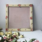 Сувениры и подарки ручной работы. Ярмарка Мастеров - ручная работа 50% SALE Рамка с цветочками шебби шик. Handmade.