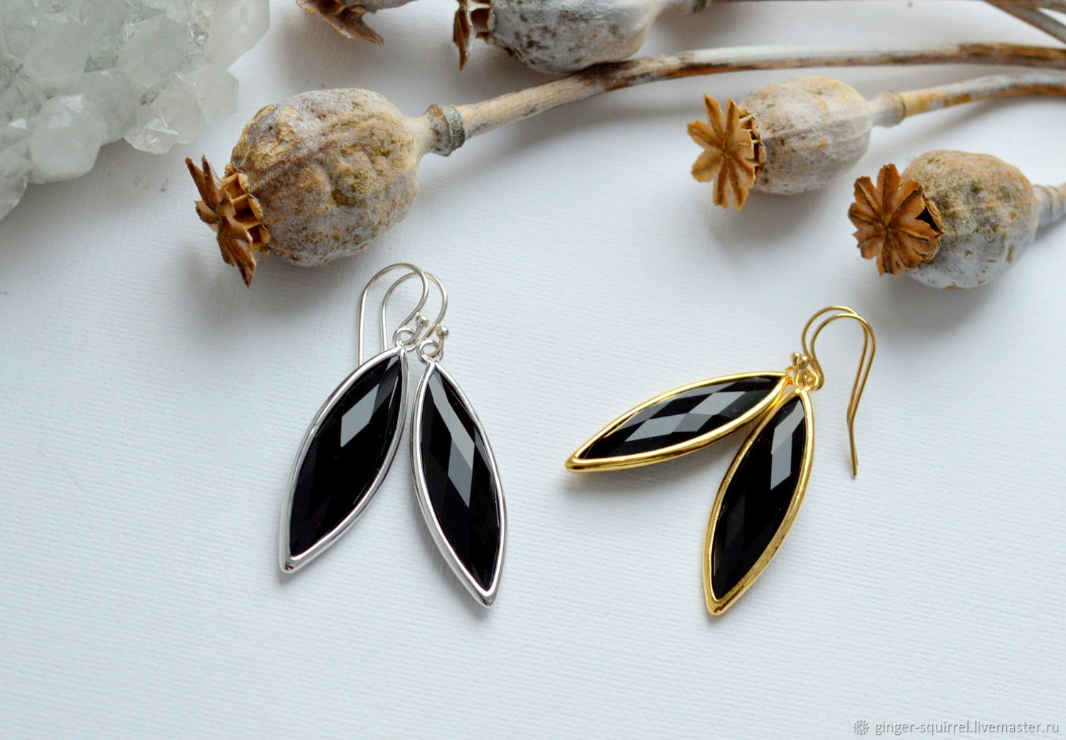 Earrings with black crystals, Earrings, St. Petersburg,  Фото №1