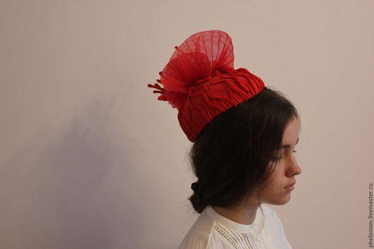 Шляпы ручной работы. Ярмарка Мастеров - ручная работа. Купить шляпка. Handmade. Ярко-красный, бархат, коралл, головной убор