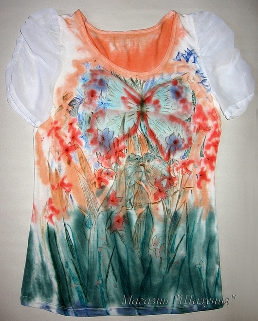 """Женская футболка с рисунком """"Птицы"""" ручная роспись\r\n\r\nСо вспышкой"""