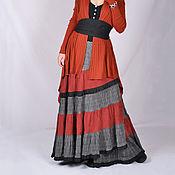 Одежда ручной работы. Ярмарка Мастеров - ручная работа Юбка с рыжей вставкой ярусная на запах, весенне-осенняя.. Handmade.