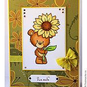 """Открытки ручной работы. Ярмарка Мастеров - ручная работа открытка """"для тебя"""" с медвежонком Milton. Handmade."""