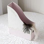 Канцелярские товары ручной работы. Ярмарка Мастеров - ручная работа журнальница бело-розовая. Handmade.