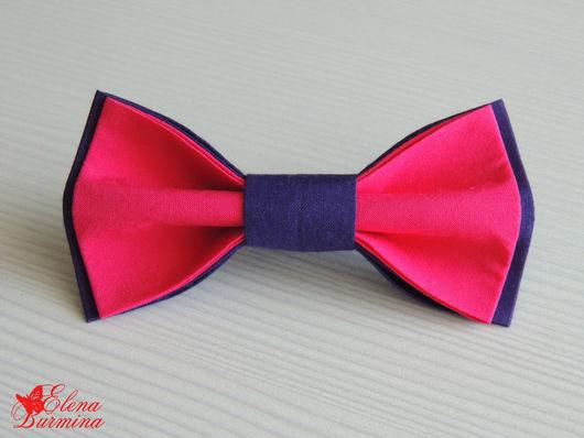 Галстуки, бабочки ручной работы. Ярмарка Мастеров - ручная работа. Купить Бабочка галстук фиолетово-розовая, хлопок. Handmade. Фуксия