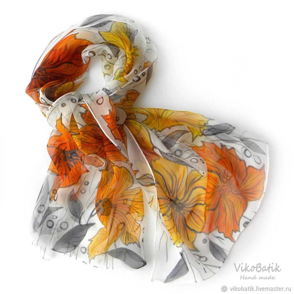 "Батик шарф женский ""Цветы и графика"". Шелк 100%. Белый, черный, желтый, Scarves, Kislovodsk,  Фото №1"