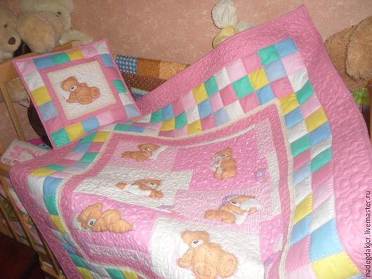 Пледы и одеяла ручной работы. Ярмарка Мастеров - ручная работа. Купить Комплект одеяло и наволочка. Handmade. Брусничный, наволочка на подушку