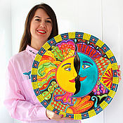 "Plates handmade. Livemaster - original item Большая тарелка на стену ""Солнце и Луна""  фарфор d40 см. Handmade."