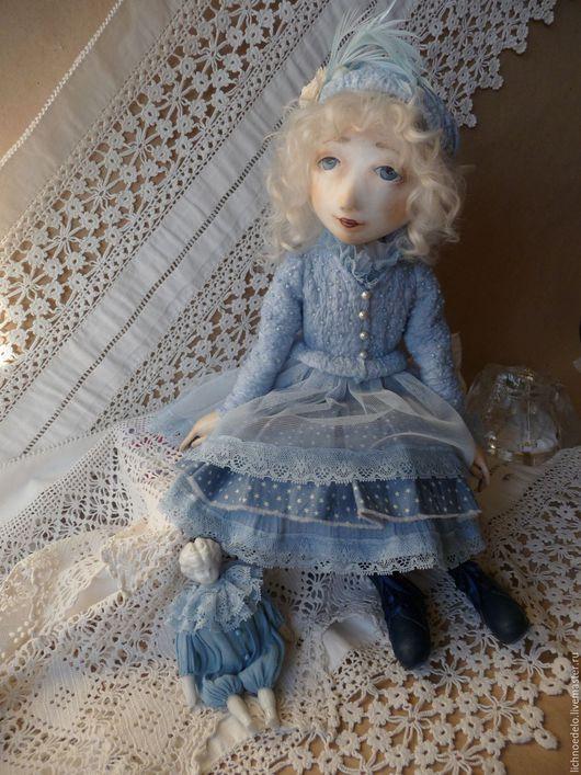 Коллекционные куклы ручной работы. Ярмарка Мастеров - ручная работа. Купить Первый снег...Подвижная кукла. Handmade. Голубой, подарок