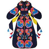 Одежда handmade. Livemaster - original item Navy blue dress with coral floral embroidery. Handmade.