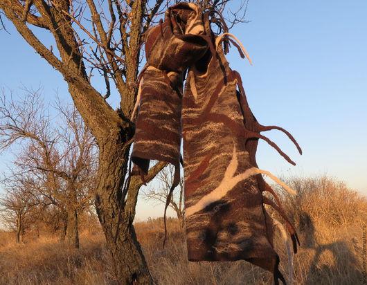 Шарфы и шарфики ручной работы. Ярмарка Мастеров - ручная работа. Купить Большой валяный шарф Деревянный. Handmade. Коричневый