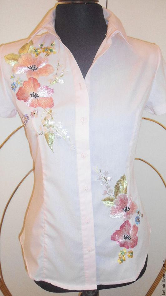 Блузки ручной работы. Ярмарка Мастеров - ручная работа. Купить вышитая блузка. Handmade. Бледно-розовый, хлопок с акрилом