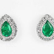 Украшения handmade. Livemaster - original item Emerald & Diamond Studs 14k, Emerald Diamond Halo Earrings, Emerald Pe. Handmade.
