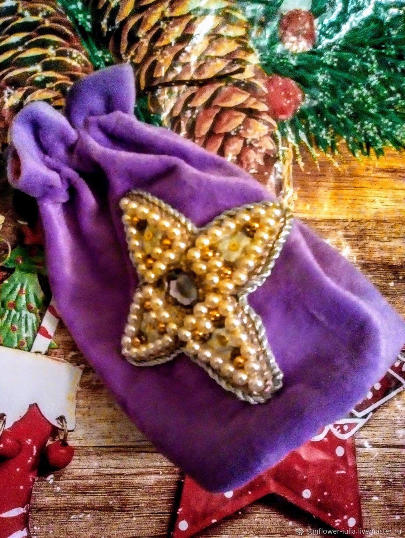 Бархатный мешочек с вышивкой, Мешочки для подарков, Санкт-Петербург,  Фото №1