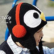 Работы для детей, ручной работы. Ярмарка Мастеров - ручная работа Шапка Пингвин в наушниках. Handmade.