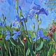 """Картины цветов ручной работы. Ярмарка Мастеров - ручная работа. Купить Королевские ирисы """"картина маслом"""" резерв. Handmade. Синий"""