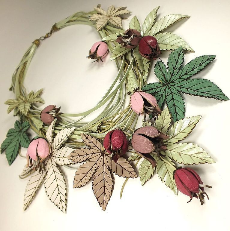 Pink - pistachio Sketch. Necklace made of genuine leather, Necklace, St. Petersburg,  Фото №1