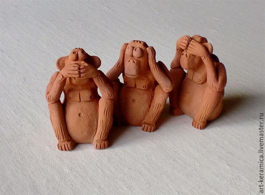 обезьяна керамика ничего не вижу ничего не слышу ничего не скажу три обезьяны сандзару керамические обезьяны фигурка обезьяны красная обезьяна скульптура обезьяны