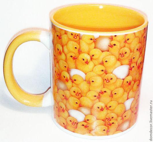 """Кружки и чашки ручной работы. Ярмарка Мастеров - ручная работа. Купить Чашка """"Цыплята"""". Handmade. Желтый, цыпленок, кружка"""