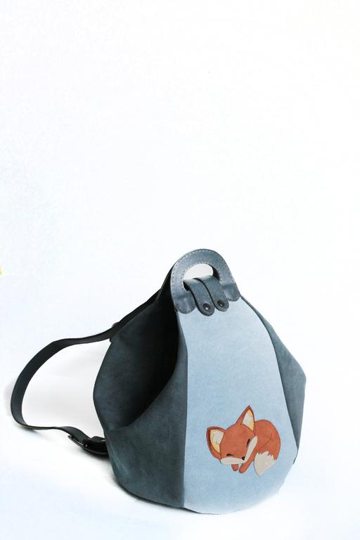 """Женские сумки ручной работы. Ярмарка Мастеров - ручная работа. Купить Женская сумка-рюкзак """"Лисичка"""". Handmade. Серый"""