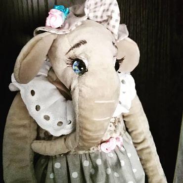 Куклы и игрушки ручной работы. Ярмарка Мастеров - ручная работа Игрушки: тедди слониха цветочница Анюта. Handmade.
