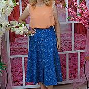 Одежда ручной работы. Ярмарка Мастеров - ручная работа Юбка джинсовая с рисунком пейсли, юбка Инна. Handmade.