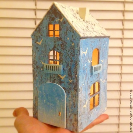 Освещение ручной работы. Ярмарка Мастеров - ручная работа. Купить Домик-малыш голубой. Handmade. Голубой, морская тематика, ночник