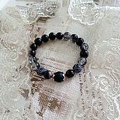 Украшения handmade. Livemaster - original item Bracelet of beads of agate, Schungite,glass - Twilight. Handmade.
