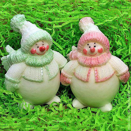 Мыло Снеговик 2, новогодний сувенир, мыло ручной работы