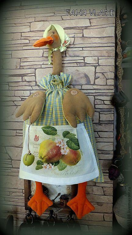 Кухня ручной работы. Ярмарка Мастеров - ручная работа. Купить УТКА С ЯБЛОКАМИ (пакетница). Handmade. Утка, гусь-пакетница
