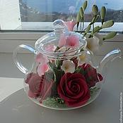 Цветы и флористика ручной работы. Ярмарка Мастеров - ручная работа Чайничек с розами и вьюнком. Handmade.