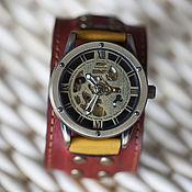 Украшения handmade. Livemaster - original item Mechanical wrist watch skeleton Indiana Contrast. Handmade.