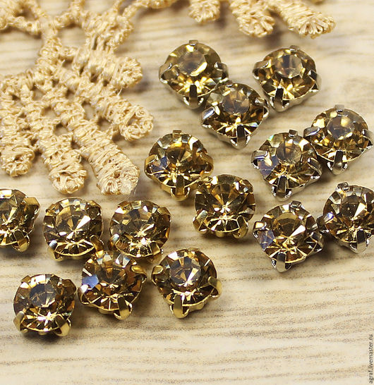 Для украшений ручной работы. Ярмарка Мастеров - ручная работа. Купить Стразы 6 мм Золотое шампанское в золотых и серебряных оправах шатон. Handmade.