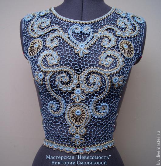 Платья ручной работы. Ярмарка Мастеров - ручная работа. Купить Кокетка для платья. Handmade. Голубой, орнамент, натуральный шелк