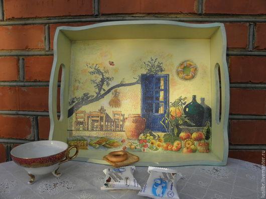 Кухня ручной работы. Ярмарка Мастеров - ручная работа. Купить поднос ,,Полуденный зной,,. Handmade. Лимонный, поднос для кухни, дерево