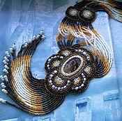 """Украшения ручной работы. Ярмарка Мастеров - ручная работа """"Блюз"""": вышитый бисером кулон на бисерных нитях с бахромой и с яшмой. Handmade."""
