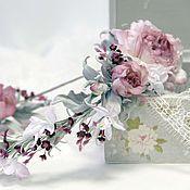 """Комплект """"Emmanuel"""" -  венок на голову и бутоньерка. Цветы из шелка."""