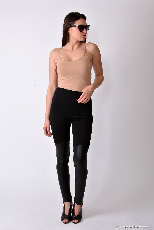 Black Leggings /Elastic Leggings/Stretch Pants/Sport Leggings/F1844, Pants, Sofia,  Фото №1