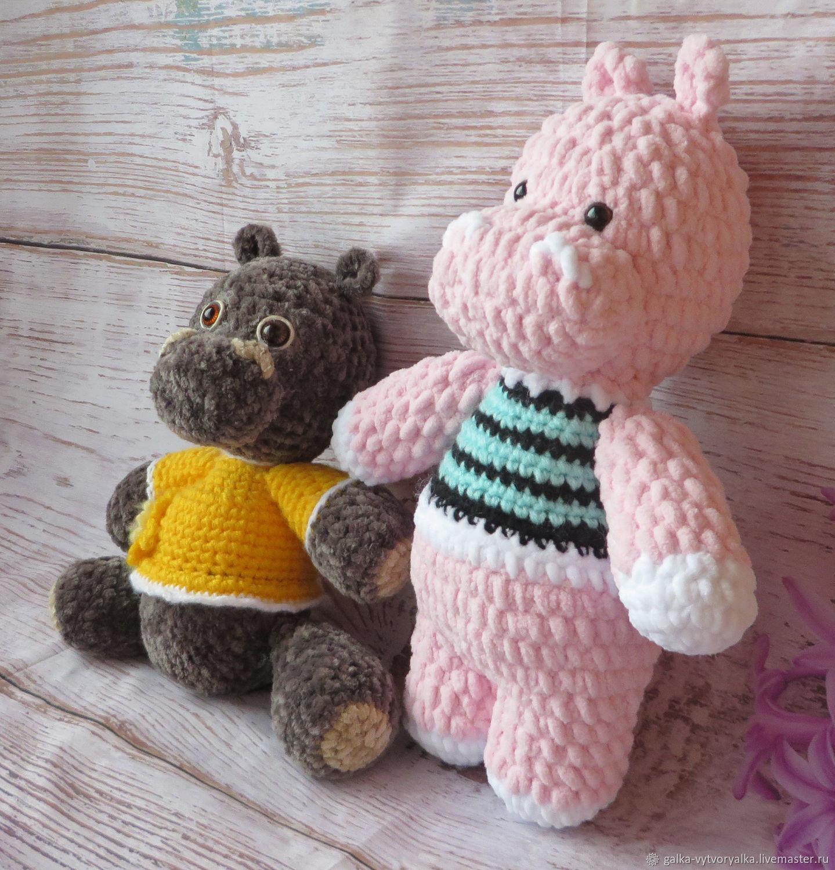 Игрушки животные, ручной работы. Ярмарка Мастеров - ручная работа. Купить Игрушка № 12 ,:Бегемотик розовый амигуруми. Handmade.